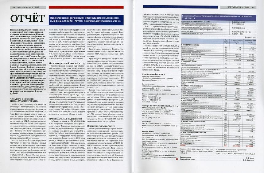 Пример публикации бухгалтерской отчетности