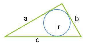 По радиусу вписанной окружности и трем сторонам