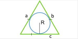 Площадь равностороннего треугольника по радиусу вписанной окружности